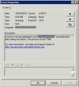 iis a process serving application pool exceeded time limits