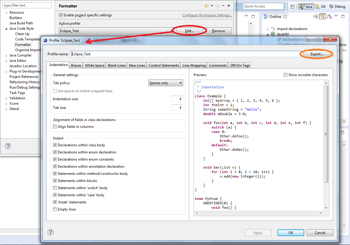 eclipse java code to application